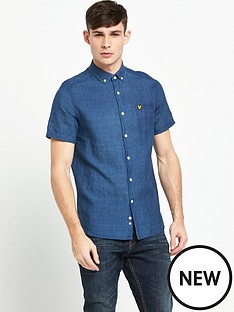 lyle-scott-indigo-short-sleeve-shirt