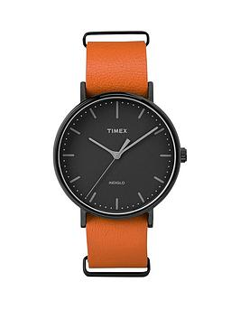 timex-timex-unisex-fairfield-black-dial-orange-leather-strap-watch