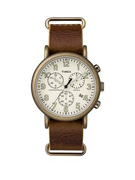 timex-timex-weekender-oversized-white-chronograph-dial-brown-strap-mens-watch
