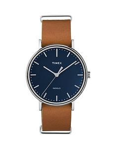 timex-timex-unisex-fairfield-blue-dial-brown-leather-strap-watch