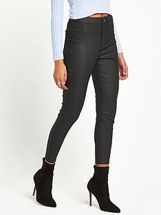miss-selfridge-petite-black-coated-jean