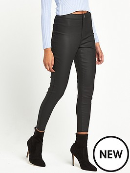 miss-selfridge-petite-black-coated-jean