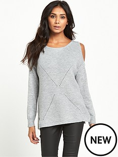 miss-selfridge-miss-selfridge-petite-cold-shoulder-slouch-jumper