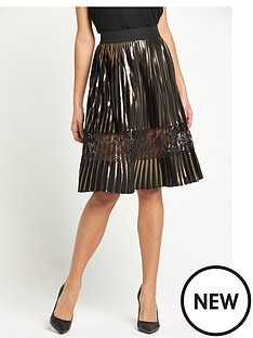 river-island-river-island-gold-pleated-midi-skirt-with-mesh-insert