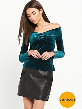 river-island-river-island-green-long-sleeve-velvet-top