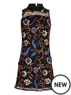 river-island-girls-orange-embroidered-mesh-panel-dress