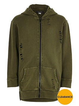 river-island-boys-khaki-green-distressed-zip-up-hoodie