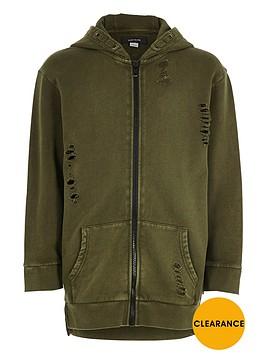 river-island-boys-khaki-green-distressed-zip-up-hoodie