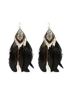 river-island-filigree-thread-feather-dangle-earrings