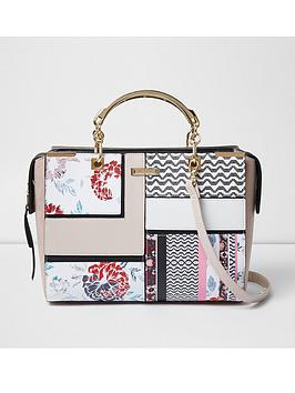 river-island-metal-handle-structured-tote-in-print