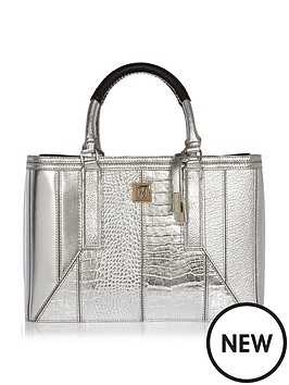 river-island-structured-tote-silver