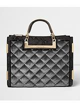 Quilted Velvet Studded Tote