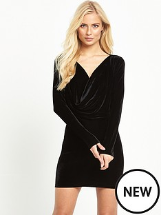 motel-motel-zeva-ls-velvet-drape-mini-dress