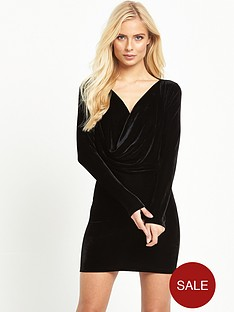 motel-zevanbsplong-sleeve-velvet-drape-mini-dress-black