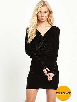 motel-zevanbsplong-sleeve-velvet-drape-mini-dress-black