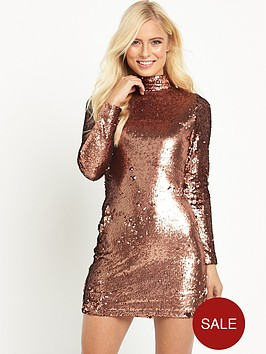 motel-long-sleeve-high-neck-sequin-mini-dress-copper
