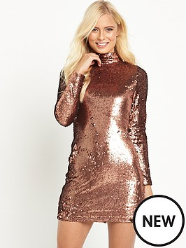 motel-motel-surt-ls-high-neck-copper-sequin-mini-dress