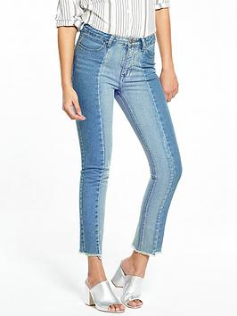 V By Very Two Tone Girlfriend Jeans