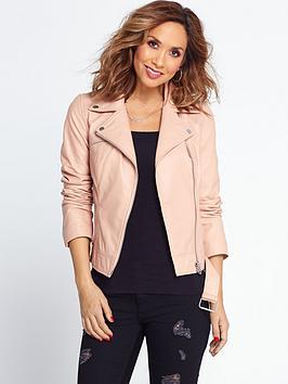 Myleene Klass Leather Jacket  Blush