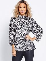 Leopard Print Fit And Flare Blouse