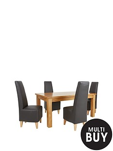 oakland-170-cm-solid-oak-dining-table-4-new-manhattan-chairs-buy-and-save
