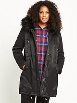 LOST INK CURVE FUR TRIM PARKA