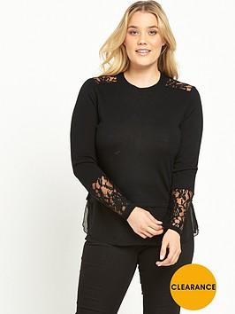 lost-ink-curve-lace-panel-jumper-black