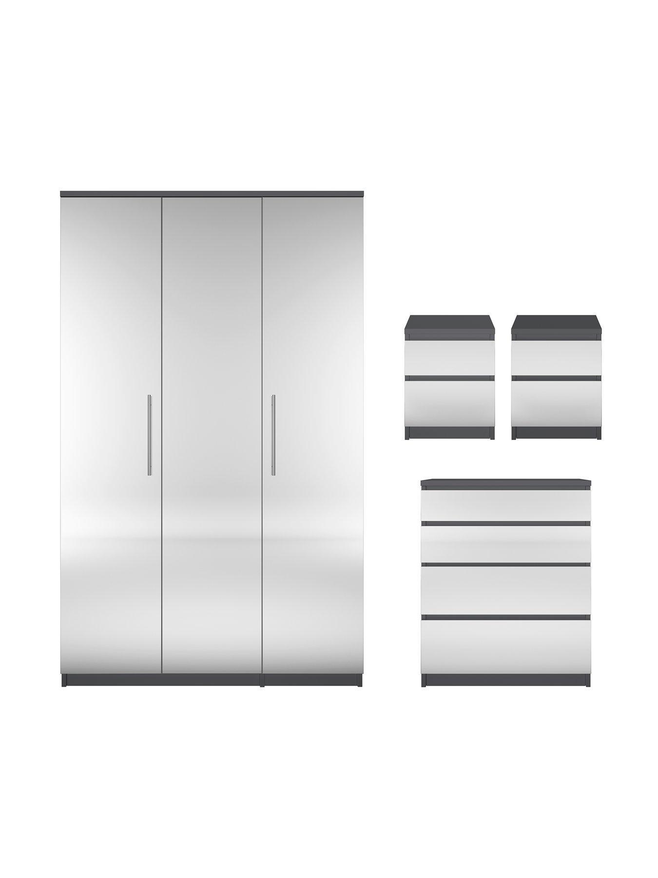 Timber Art Design 3 Piece Bedroom Furniture Set Wardrobe Chest Drawers Bedside Table White