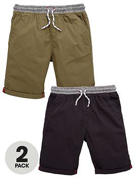 V By Very Boys Woven Shorts  KhakiBlack (2 Pack)