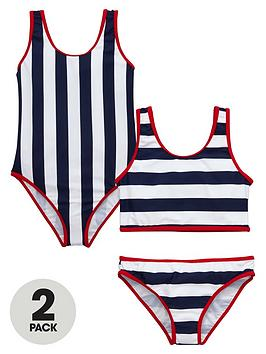 V By Very Girls Nautical Swimsuit And Tankini Set