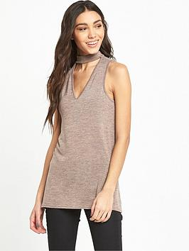 river-island-river-island-mink-sleeveless-longline-knit-with-choker-detail