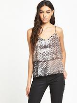 Printed Double Layer Cami Top - Pink Print