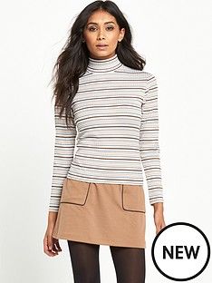 miss-selfridge-miss-selfridge-petite-camel-multi-stripe-rib-roll-neck