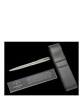 parker-parker-sonnet-stainless-steel-chrome-trim-ballpoint-pen-amp-pouch