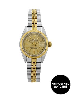 rolex-rolex-preowned-bimetal-datejust-champagne-pinstripe-26mm-dial-ladies-watch-with-original-papers
