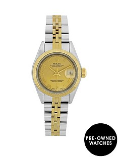 rolex-rolex-preowned-bimetal-datejust-champagne-roman-numeral-26mm-dial-ladies-watch-with-original-papers