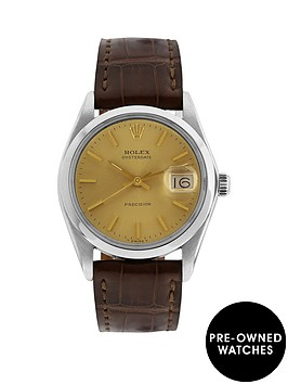 rolex-steel-oysterdate-champagne-34mm-dial-aftermarket-brown-strap-mens-watch-pre-owned