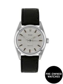 rolex-steel-oyster-perpetual-silver-linen-34mm-dial-aftermarket-black-strap-mens-watch-pre-owned