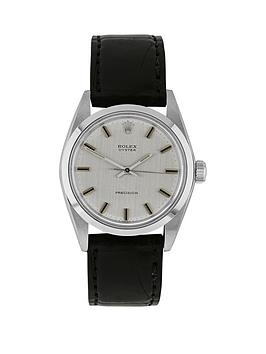 Rolex Steel Oyster Perpetual Silver Linen 34Mm Dial Aftermarket Black Strap Mens Watch PreOwned