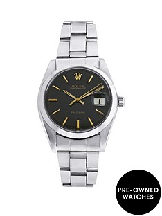 rolex-rolex-preowned-steel-oysterdate-black-34mm-dial-original-vintage-stainless-steel-bracelet-mens-watch