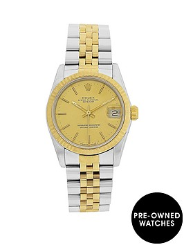 rolex-bimetal-datejust-original-champagne-diamond-31mm-dial-midsize-watch-pre-owned-1987-1994