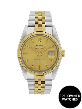 rolex-bimetal-datejust-champagne-36mm-dial-mens-watch-pre-owned-1987-1994