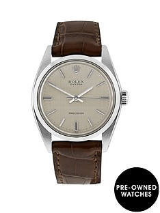 rolex-steel-oyster-perpetual-silver-linen-34mm-dial-aftermarket-brown-strap-mens-watch-pre-owned