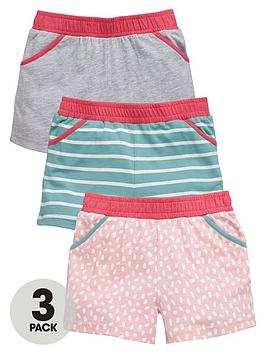 Mini V By Very Girls Printed And Plain Shorts (3 Pack)