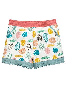 Mini V By Very Girls Leaf Print Broderie Trim Shorts