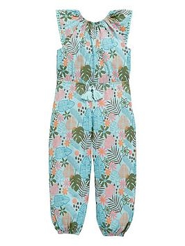 Mini V By Very Girls Palm Print Jumpsuit