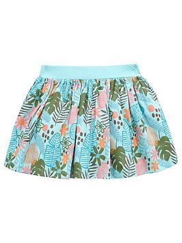 Mini V By Very Girls Palm Print Floral Skirt