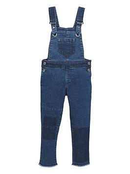 Mini V By Very Toddler Girls Patchwork Denim Dungarees