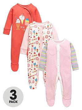 Ladybird Baby Girls Ice Cream Sleepsuits (3 Pack)