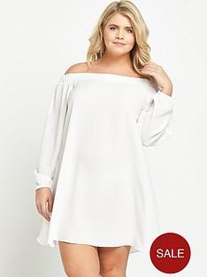 ri-plus-long-sleeve-bardot-dress-white
